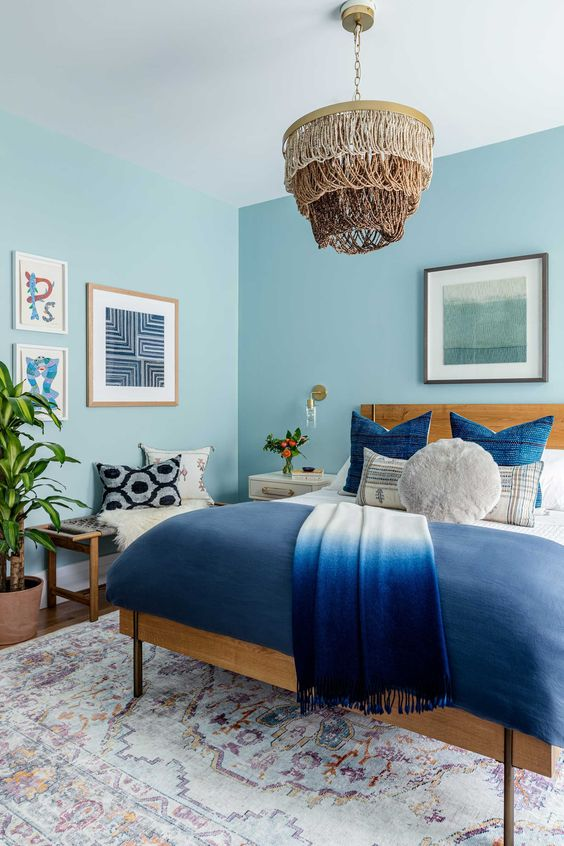 charismatic blue for cozy and calming bedroom