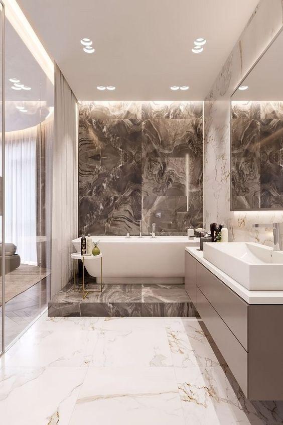 cream marble wall for bathroom