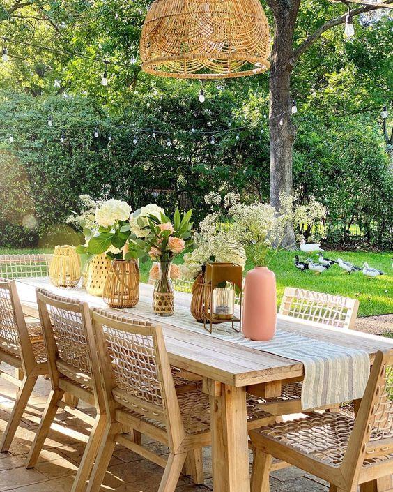 dining table in backyard