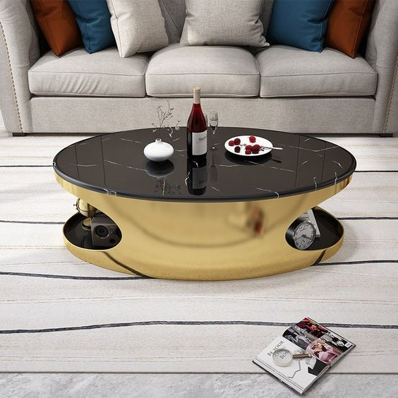 black marble coffee table for luxurious living room