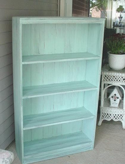 distressed bookcase for shabby chic decoration