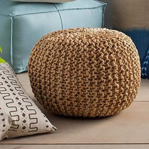 braided puff ottoman for a boho bedroom