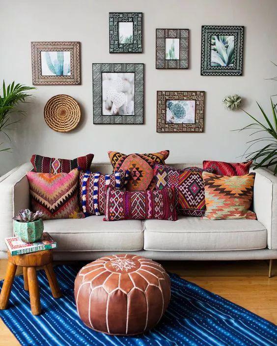 colorful bohemian throw pillow