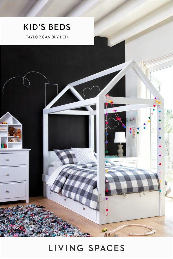 black wallpaper art bedroom design for kids