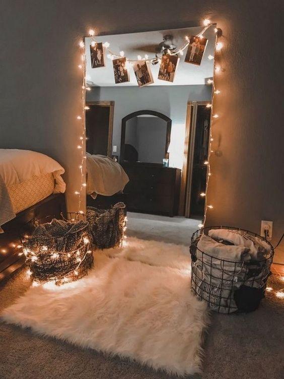 DIY fairy light mirror and polaroids