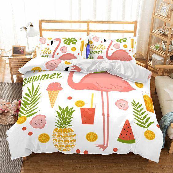 flamingo bed set for a tropical bedroom design