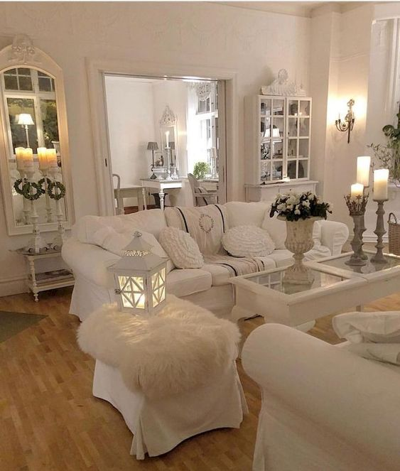 gorgeous shabby chic living room ideas in all white