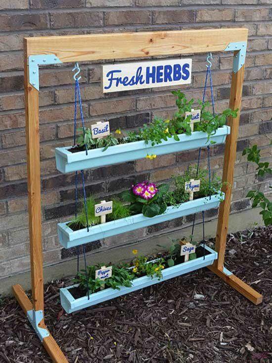 wooden herbs planter