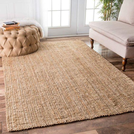 jute rug for a tropical living room