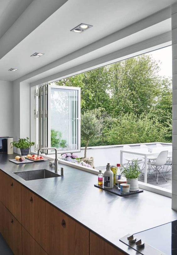 kitchen connected with nature home design