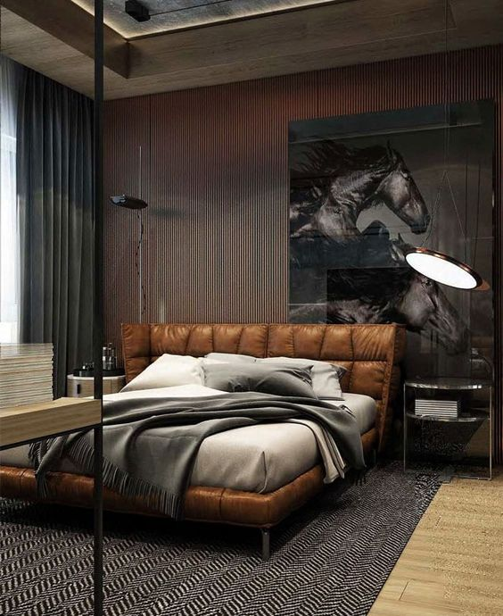 masculine bedroom with leather