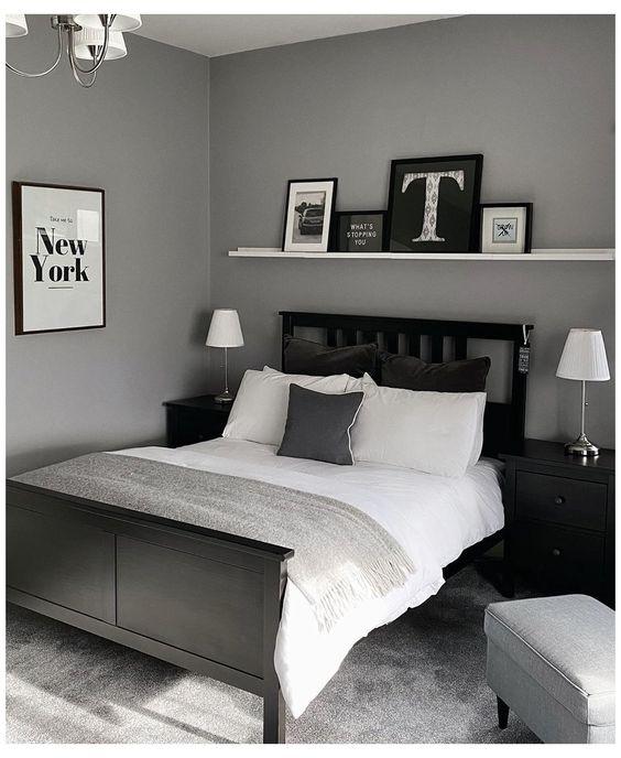monochrome bedroom for masculine bedroom