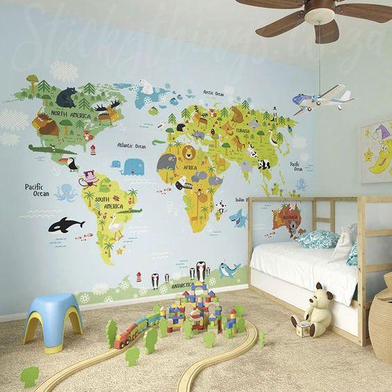 world map wallpaper for kids bedroom