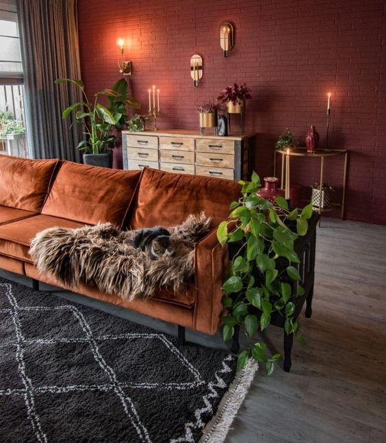 orange vintage sofa