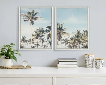coconut palm trees canvas frame