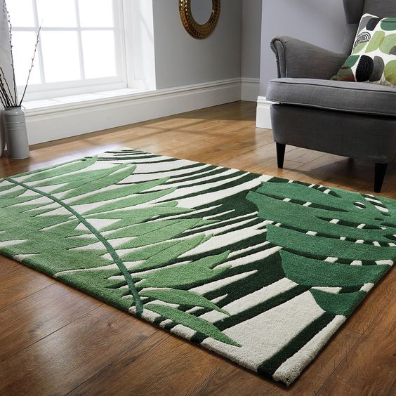 palm leaves rug for tropical decoration