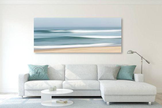 panoramic canvas wall art coastal living room idea