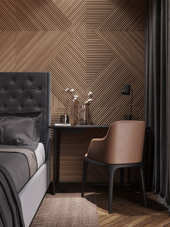 pattern wallpaper for men's bedroom ideas