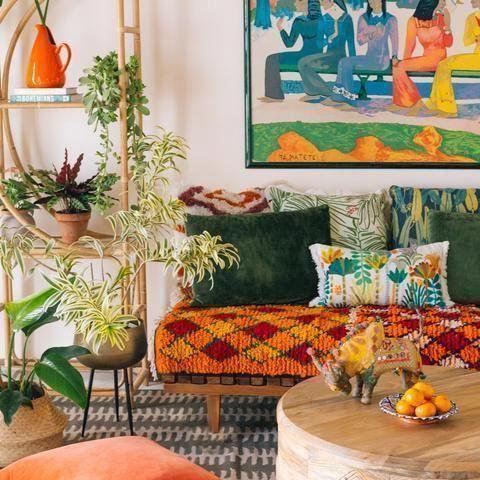 bohemian living room idea with pop color