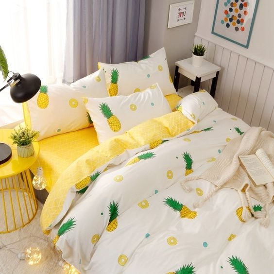 printed pineapples bedding for tropical bedroom