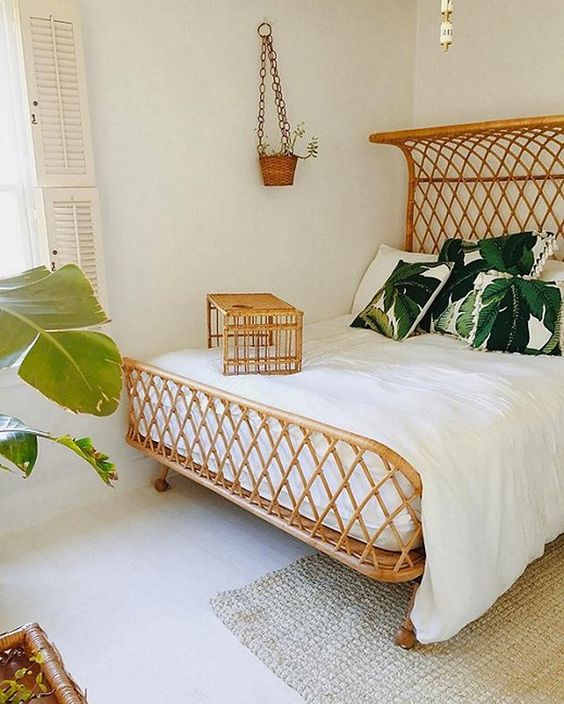 printed throw pillow for tropical bedroom ideas