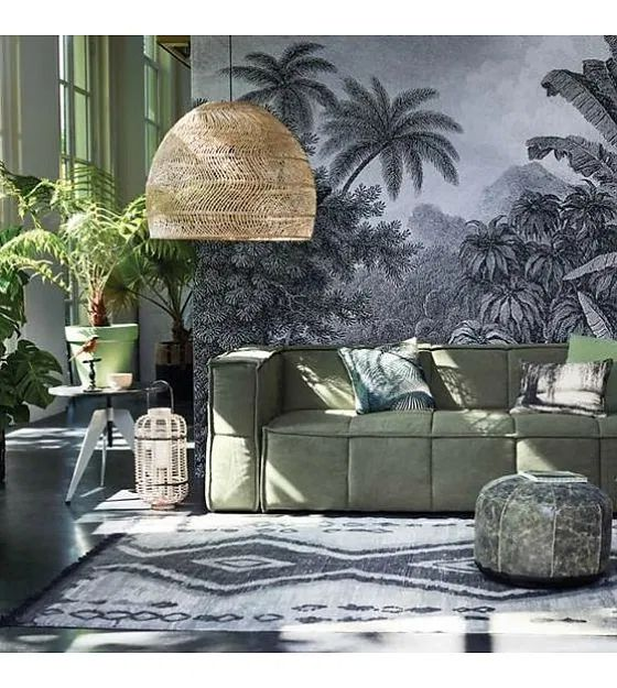 rattan pendant lampshade for a tropical living room design