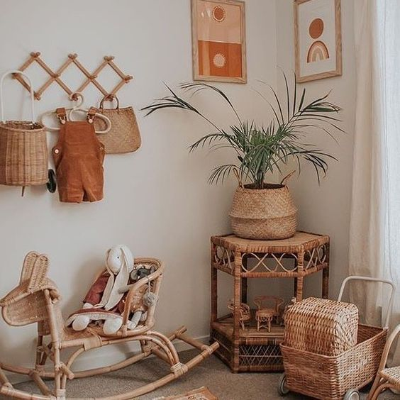 Rattan pot for a bohemian interior design