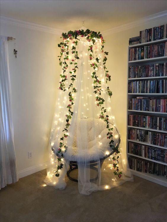 reading nook fairy lights ideas