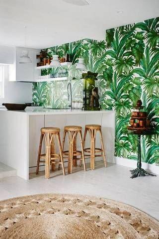 round woven rug for tropical interior design