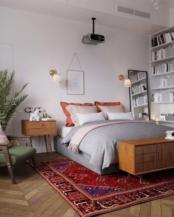 eclectic bedroom with Scandinavian interior design influences