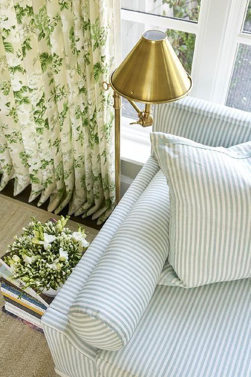 Striped sofa for a coastal bedroom
