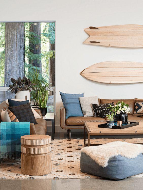 surfboard in a coastal bedroom idea