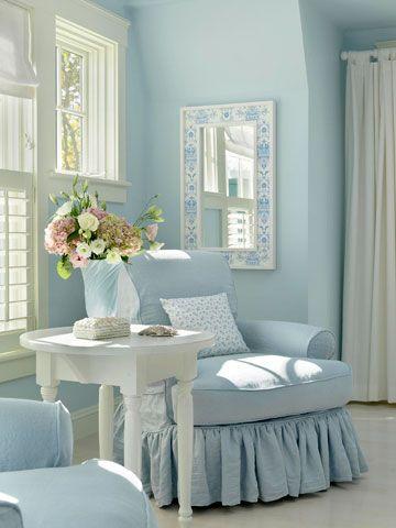 Shabby chic living room in blue