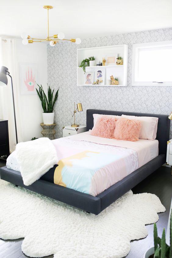 eclectic bedroom play in textures