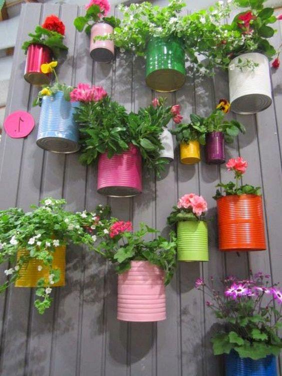 DIY tin cans for vertical garden