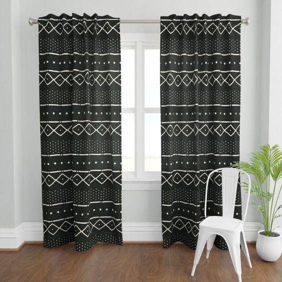 Bohemian decoration with boho tribal curtain
