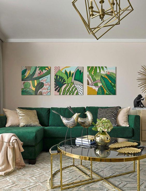 tropical living room idea with motif painting
