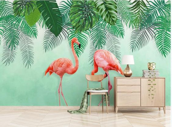 green leaves and flamingo wallpaper for tropical living room decoration ideas