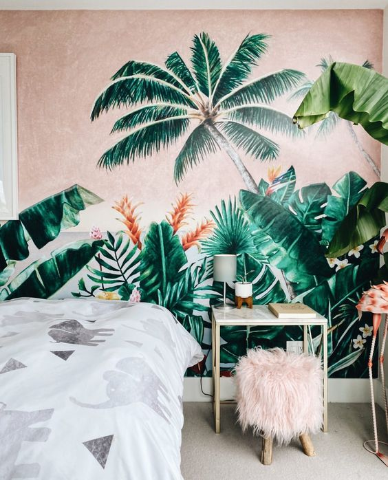 amazing tropical wallpaper for a tropical bedroom ideas