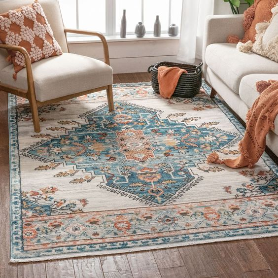 Vintage oriental rug for bohemian living room