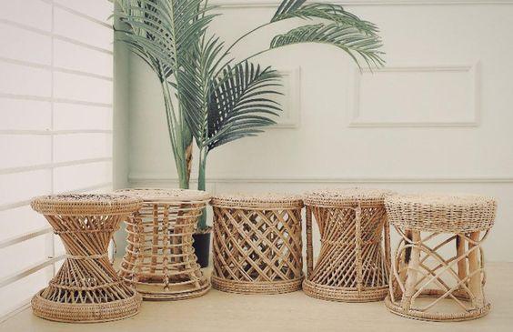 vintage round rattan chair for boho loving room decoration