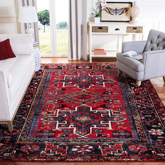 vintage rug for bohemian living room