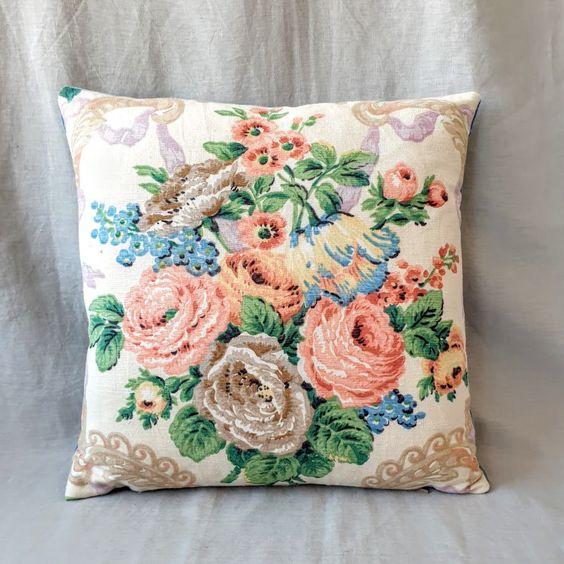 printed vintage floral throw pillow