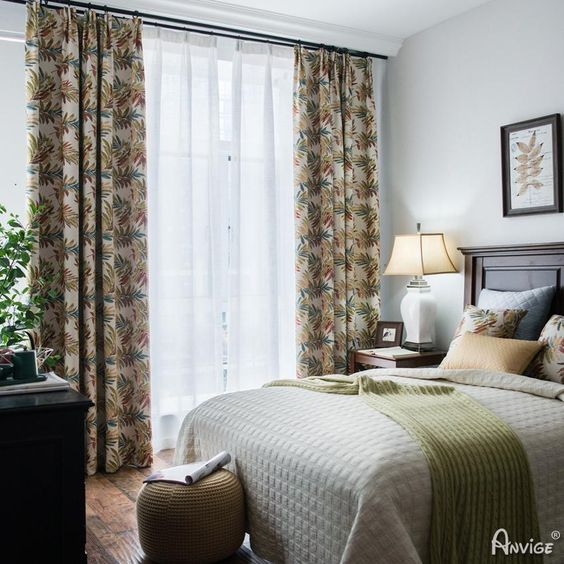 vintage tropical banana leaves curtain for bedroom