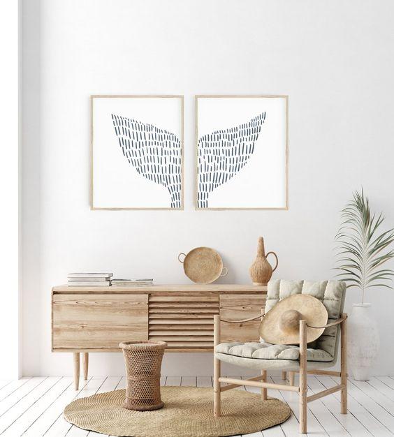 whale tale wall decoration for a coastal living room