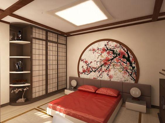 sakura wallpaper in Japanese bedroom