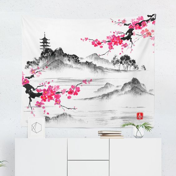 Japanese tapestry bedroom decoration
