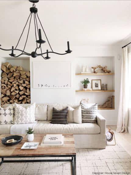 rustic touch in Scandinavian living room