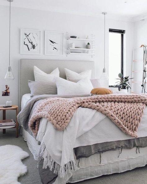cozy artsy Scandinavian bedroom