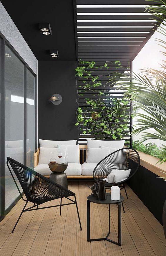 cozy black house balcony